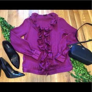 RED Valentino pink/purple Silk Ruffle Blouse